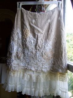 Upcycled vintage linen and lace skirt re-embroidered applique