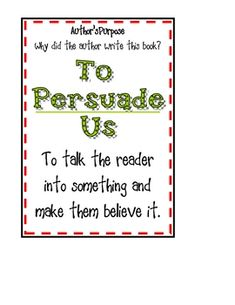 Author's Purpose Poster - Ivy Harris - TeachersPayTeachers.com free download
