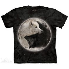 women's or men's t-shirt, yin yang  wolves, stonewashed, multicolored, brand new #mountainbrand #GraphicTee