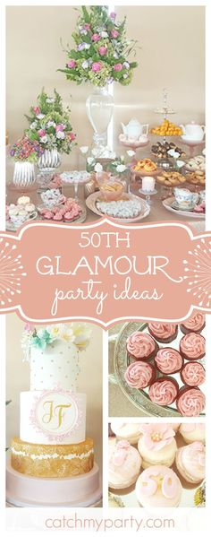 Don't miss this 50th birthday party with a lot of glamour!! The dessert table is so pretty!! See more party ideas and share yours at CatchMyParty.com