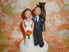 Custom Bride And Groom With Pets Wedding Cake Topper.  There's nearly EVERY style cake topper on this Etsy site!