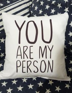 Black and white you are my person throw pillow. Makes a great gift for a friend, boyfriend or girlfriend.  Measures 35cm (14). Fits 14 inch fillers. Closes with a zipper.  Material: microfiber polyester cover.  Pillow care: machine wash the cover in cold water using mild detergent and gentle cycle