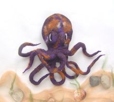 Felt squid brooch   Purple Violet Octopus by galafilc on Etsy, $24.00