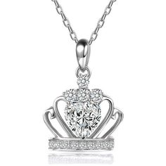Silver Crown Shape Diamond Pendant Necklace ($20) ❤ liked on Polyvore featuring jewelry, necklaces, diamond jewellery, silver crown necklace, silver crown, crown necklace and silver jewelry