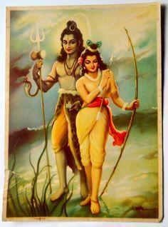 India Vintage Calendar Print Hindu God Goddess Shiva with Parvati Shiva Parvati Images, Mahakal Shiva, Shiva Art, Krishna Art, Hindu Art, Shiva Statue, Hare Krishna, Indian Gods, Indian Art