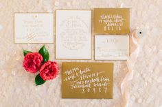 Gold invitations