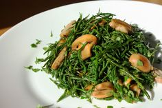 Garlic and Parsley Sauteed Sea Bean and Mushrooms (use coconut oil instead of butter)