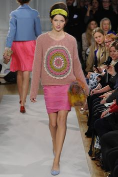 Her lips matched her skirt. Pink lips everywhere at Moschino. Moschino Cheap & Chic RTW Fall 2012 - London