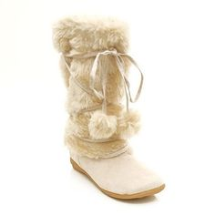 Snow Winter Furry Beige Flat Boot for Girls