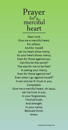 A prayer for a merciful heart. True mercy comes from trust in Jesus. Prayer Times, Prayer Scriptures, Bible Prayers, Catholic Prayers, Faith Prayer, God Prayer, Prayer Quotes, Bible Verses Quotes, Faith Quotes