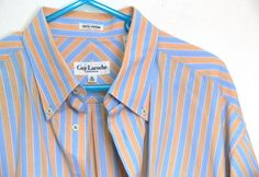 Guy Laroche Monsieur Striped Shirt Short Sleeves Size XL 17 1/2 100% Cotton #GuyLaroche #ButtonFront
