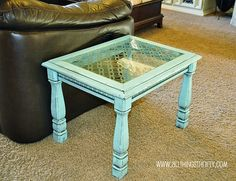 repainted and distressed end table with glass top