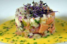 Ceviche de salmón y maracuyá. Restaurante Al Aljibe Alameda de Hércules. | #Tapasconarte