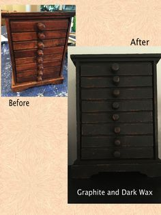 Small ornamental wooden drawers painted with Graphite Annie Sloan Chalk Paint a finished with a layer of Dark Wax