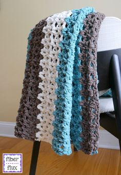LOVE THESE COLOURS. The Family Room Throw is a super comfy throw that is lofty, lacy and crocheted in soothing tones for the home. Work one up to drape across a sofa, favorite, chair or a perfect housewarming gift too! Crochet Throw Pattern, Gilet Crochet, Crochet Afgans, Chunky Crochet, Afghan Crochet Patterns, Love Crochet, Crochet Stitches, Crochet Hooks, Crochet Baby