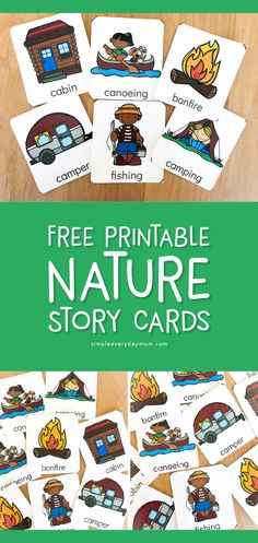 Free Printable Nature Story Cards These camping themed flashcards for kids are a great way to have children tell a story Work on sequencing vocabulary creativity and mor. Camping Ideas, Camping Activities For Kids, Camping With Toddlers, Camping Snacks, Preschool Camping Theme, Camping Checklist, Camping Games, Camping Theme Crafts, Toddler Camping