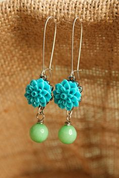 Teal Resin Cabochon Earrings BEST Bridesmaid Gift by belmonili, $15.00