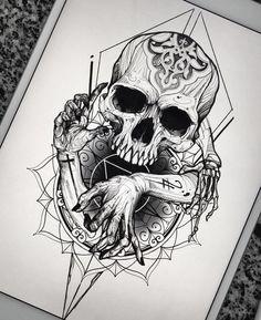 Pin de derald hallem em skull art tattoos, tattoo drawings e Skull Tattoo Design, Skull Tattoos, Black Tattoos, Body Art Tattoos, New Tattoos, Sleeve Tattoos, Tattoo Designs, Skull Design, Stencils Tatuagem