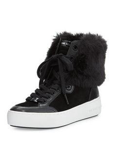 Poppy Faux-Fur High-Top Sneaker, Black by MICHAEL Michael Kors at Neiman Marcus.