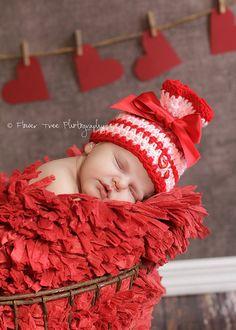 Newborn Striped Hat Pink And Red Hat Newborn by VioletsPlayground