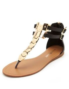 Metal-plated ankle strap thong sandal.