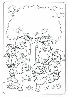 Детский сад - это радость для ребят! — Фото | OK.RU Earth Day Coloring Pages, Coloring Pages For Kids, Coloring Sheets, Adult Coloring, Coloring Books, Art Drawings For Kids, Drawing For Kids, Art For Kids, Tree Day
