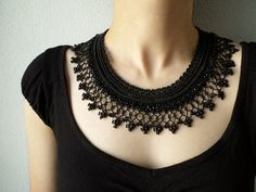 Black beaded crochet necklace  Collar by irregularexpressions