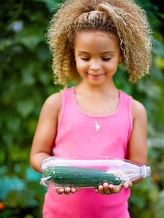 Cuke in a Bottle: How'd that cucumber get in there? Your kids will know the answer: they grew it! #SchoolGardens