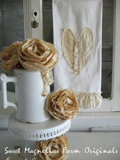 Ruffled Bathroom Hand Towel - Valentine - Lace and Muslin Heart - Rustic Romance -for your Home, Farmhouse or Cottage. $15.00, via Etsy.