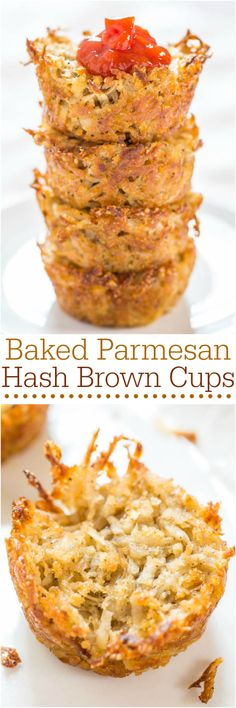 Baked Parmesan Hash Brown Cups - Easiest hash browns ever! No stovetop flipping! A great side dish, fun party food, or game day snack!!