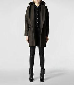 Womens Hooded Klein Coat (Khaki) | ALLSAINTS.com