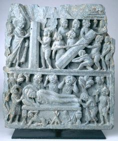 Gandharan Relief 2nd-3rd C. Two scenes from the life and death of Buddha