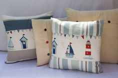 Quality Stunning Handmade 14 x 14and 16x16 Nautical Beach Huts Sea side Cushion covers ************************ Features x Size 14x14inches. x Exclusive Clarke & ClarkeHartford StripesTeal Blue and Beige striped fabric & Fryetts Maritimefabric x Natural co loured Cotton Calico at the