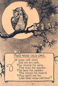 The wise old owl. The wise old owl, sat on an oak. The more he saw, the less he spoke. The less he spoke the more he heard. Why can't we be like that wise old bird? Quotable Quotes, Wisdom Quotes, Me Quotes, Speak Quotes, The Words, Classic Poems, Owl Illustration, Nursery Rhymes, Beautiful Words