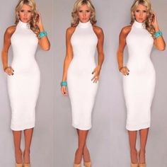 NEW SEXY ELEGANT WOMEN WHITE DRESS SHEATH TURTLENECK BANDAGE BODYCON CLUB PARTY DRESSES VESTIDOS