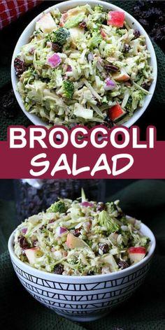 Apple Broccoli Salad, Broccoli Salad With Raisins, Broccoli Recipes, Broccoli Slaw, Fresh Broccoli, Healthy Salad Recipes, Vegan Recipes Easy, Vegetarian Recipes, Cooking Recipes