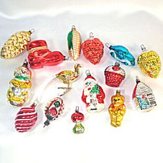 15 Figural West German Glass Christmas Ornaments