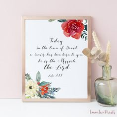 Items similar to Luke 2 Bible Verse Print, For unto you is born this day, on Etsy Bible Verse Wall Art, Scripture Art, Luke 2 11, Large Wall Calendar, Lord Is My Shepherd, Meaningful Gifts, Quote Prints, Bible Quotes, Printable Wall Art