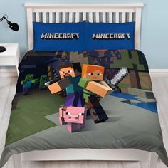 Minecraft 'Good Guys' Panel Double Bed Duvet Quilt Cover Set Brand New Gift Duvet Cover Sizes, Comforter Cover, Duvet Bedding, Quilt Cover Sets, Duvet Sets, Double Duvet Set, Double Duvet Covers, Single Duvet Cover, Double Beds