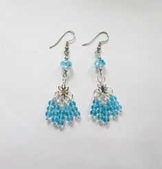 Turquoise Blue Swarovsky Crystal Quartz  and Silver Plated earrings by GypsyDreamerCafe, $12.50