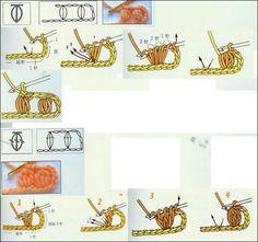 les points au crochet avec schemas - Fleurs et Applications au Crochet Filet Crochet, Crochet Stitches, Crochet Patterns, Le Point, Free Pattern, Symbols, Etsy, Knitting, Illustration