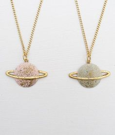 jewels necklace earth world science saturn gold jewelry shiny nerd universe galaxy print stars glitter pastel pink blue painting girl indie sparkle venus atmosphere cute