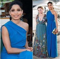 At the event. Read more http://fashionpro.me/freida-pintos-fabulous-blue-dress-giff