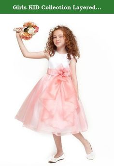 Girls KID Collection Layered Organza Ruffle Skirt Holiday Christmas Party Flower Girl Dress, Coarl, 8. Absolutely stunning dress with Satin bodice and beautifully layered Organza ruffle skirt.; 65% Acetate 35% Polyester; Hand Wash; Made in USA; Fully lined with rear zipper closure and tie back; Perfect for Flower Girl Dress, Easter Dress, or other special occasions; Natural tea length; Scoop neckline.; Detachable flower detail.