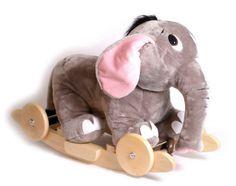 Schaukelkumbo. Dieser lustige Elefant lässt kleine Reiter rhythmisch schaukeln und sorgt für einzigartiges Spielvergnügen! Die integrierten Holzräder lassen sich ausklappen und der Schaukelelefant dadurch einfach von einem Ort an den anderen bringen. Der Elefant hat zwei Holzgriffe hinter seinen kuschelweichen Ohren, die zusätzlichen Halt bieten, sowie einen lustigen Gesichtsausdruck, der durch die angebrachten Augen entsteht.