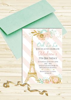 Items similar to Mint and Pink Striped Paris Baby or Bridal Shower Invitation Gold Bebe Soiree Printable Invite on Etsy Pink And Gold Invitations, Bridal Shower Invitations, Birthday Invitations, Paris Torre Eiffel, Paris Eiffel Tower, Paris Birthday, 16th Birthday, Happy Birthday, Pink Paris