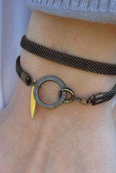 Double bracelet MARY - Chaîne laiton et navette jaune