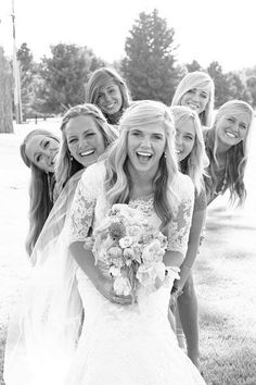 30 Fun Bridal Party Photos...someday all of my girls will be doing this with me. (: This is really cute