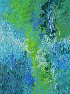 Original Abstract art Green abstract landscape by garimadesigns, $100.00