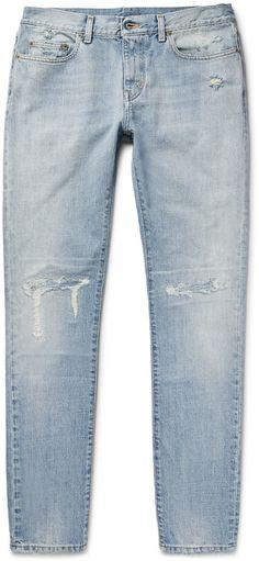 Saint Laurent Skinny-Fit 16cm Distressed Washed-Denim Jeans